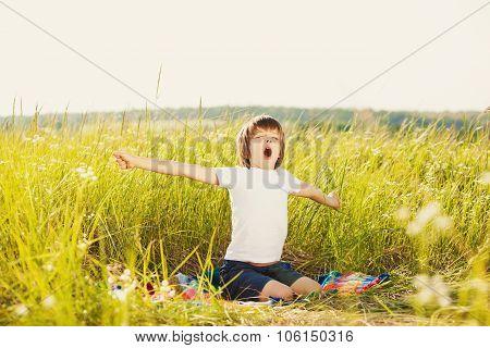 Waking Little Boy On Nature