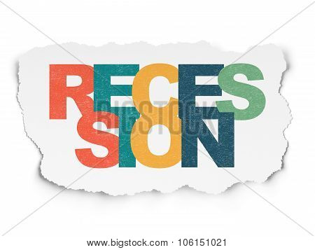 Business concept: Recession on Torn Paper background