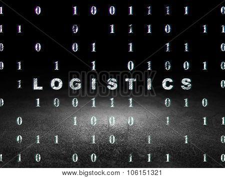 Finance concept: Logistics in grunge dark room
