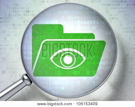 Business concept: Folder With Eye with optical glass on digital background