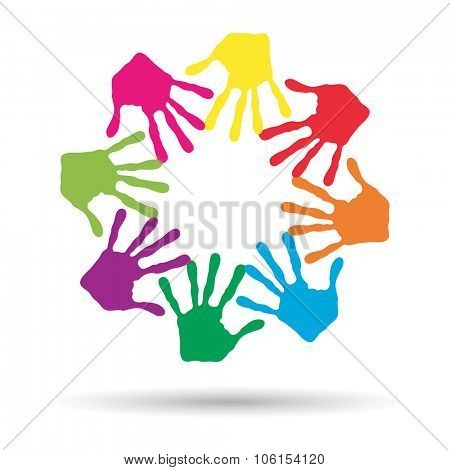 Concept or conceptual circle or spiral set made of colorful painted human hands isolated on white ba