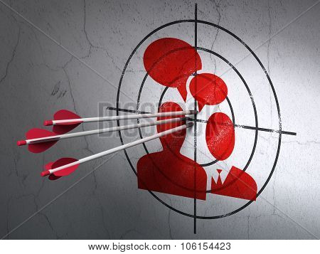 Business concept: arrows in Business Meeting target on wall background