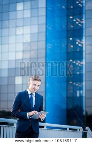 Businessman And Office Block