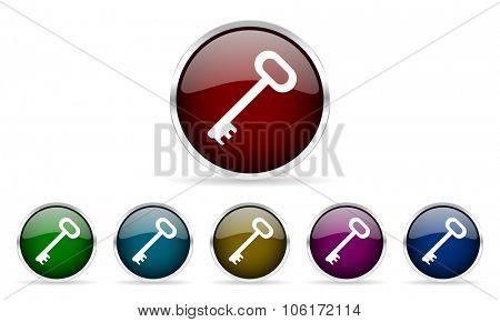 key colorful glossy circle web icons set