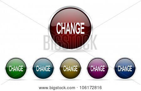 change colorful glossy circle web icons set