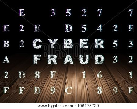 Security concept: Cyber Fraud in grunge dark room