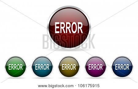 error colorful glossy circle web icons set