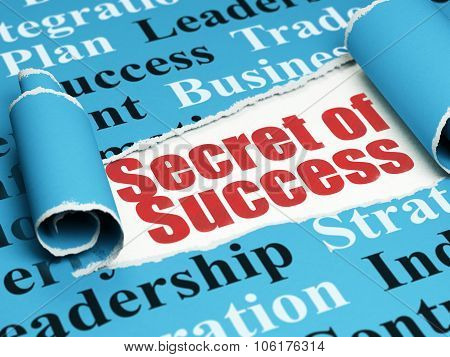 Finance concept: red text Secret of Success under the piece of  torn paper