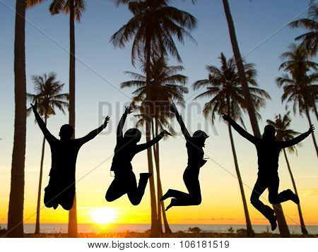 Jumping over Sunset Dance the Night Away