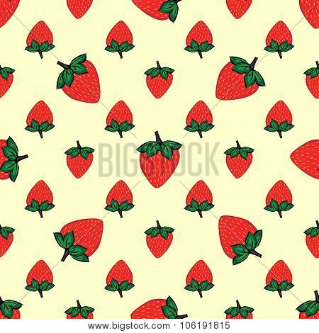 Red berries strawberry strawberry natural seamless pattern backg