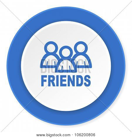 friends blue circle 3d modern design flat icon on white background
