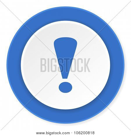 exclamation sign blue circle 3d modern design flat icon on white background
