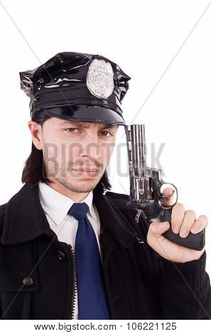 Police officer isolated on white