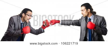 Businessmen boxing isolated on the white