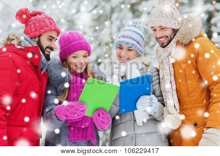 technology, season, friendship and people concept - group of smiling men and women with tablet pc co