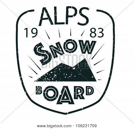 Snowboarding Typography Icon, Logotype And Badge St