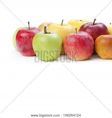 organic apple fruit. Various colors ripe apples. white background