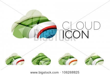 Set of abstract cloud computing icons, business logotype concepts, clean modern geometric design. Cr