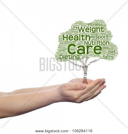 Concept or conceptual green health text word cloud or tagcloud as tree in man or woman hand isolated