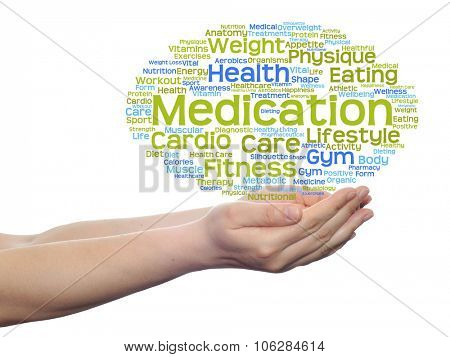 Concept or conceptual abstract health, nutrition or diet word cloud in human man hand isolated on wh