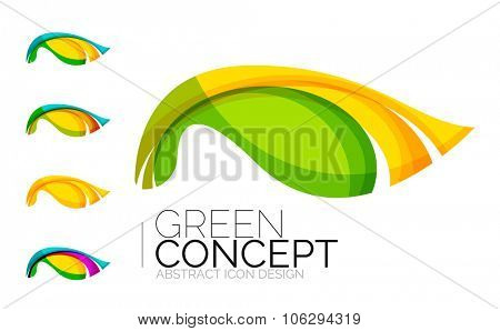 Set of abstract eco plant icons, business logotype nature green concepts, clean modern geometric des