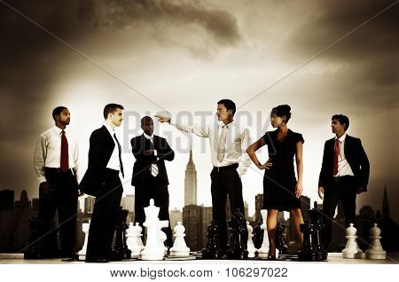 Business People Chess Cityscape Leader Concept