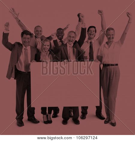 Business People Celebration Happiness Banner Copy Space Concept