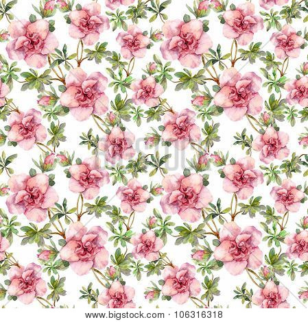 Pink flowers. Seamless repeated floral swatch. Aquarelle picture on white background