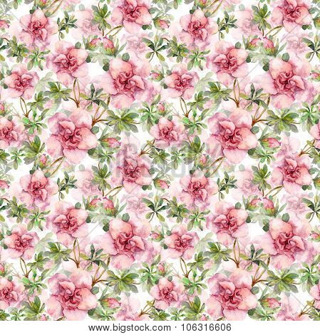 Pink flowers. Seamless tiled floral wallpaper. Aquarelle hand drawing on white background