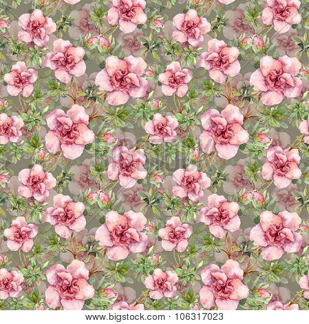 Pink flowers. Seamless repeated floral template. Watercolor hand drawing on gray background