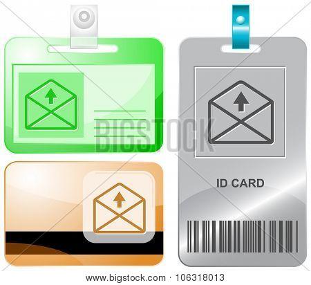 mail up arrow. Raster id cards.