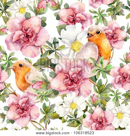Watercolor birds and watercolour flowers. Seamless floral pattern.