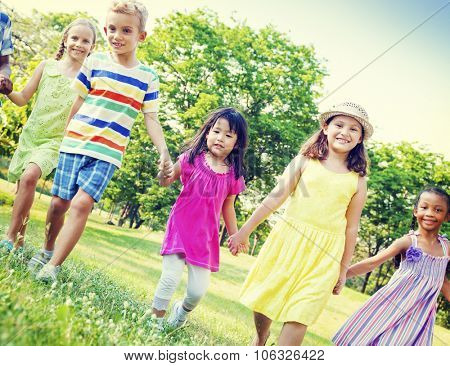Children Kids Friendship Walking Happiness Concept
