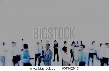 Group Business People Working Blurred Motion Indoors Concept