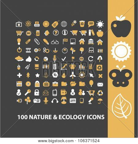 nature, ecology, environment icons set for infographics