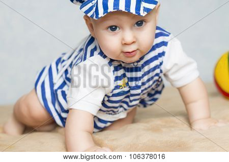 Portrait of the cute child in a sea clothes