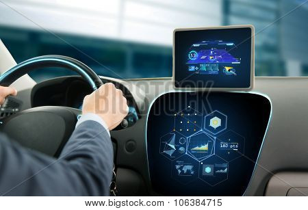transport, destination, modern technology and people concept - close up of man driving car with navi