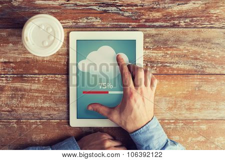 business, education, cloud computing, people and technology concept - close up of male hands with ta