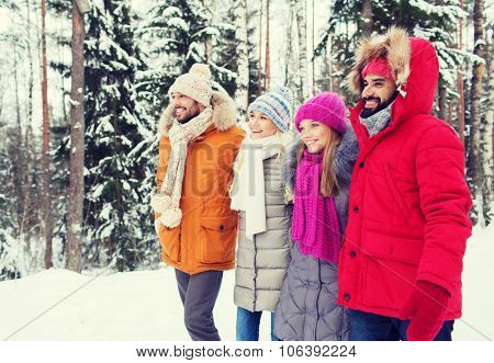 love, relationship, season, friendship and people concept - group of smiling men and women walking i