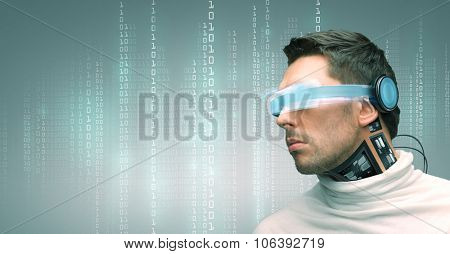 people, technology, future and progress - man with futuristic glasses and microchip implant or senso