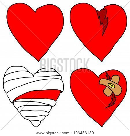 Set of vector doodle hearts on white background. stock photo