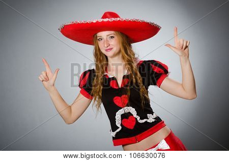Mexican woman wearing sombrero hat stock photo