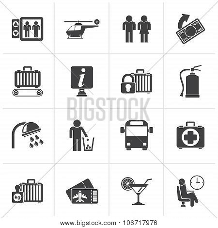 Black Airport, travel and transportation icons -   vector illustration stock photo