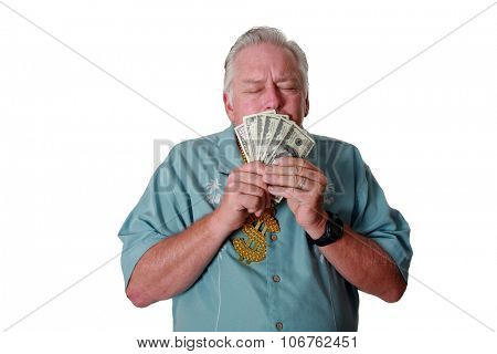 A man with money. A man wins money. A man has Money. A man Sniffs Money. A man Loves Money. A man an