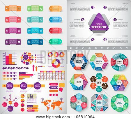 Vector set of infographics, charts, paper stickers and labels with realistic shadows for infographic set. Template for diagram, graph, presentation. Vector circle infographics, business template stock photo