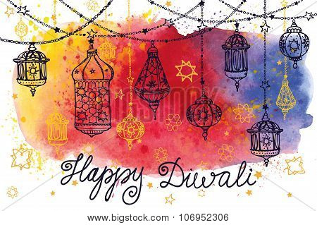Happy Diwali hanging lamps and Watercolor splash