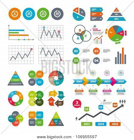 Business data pie charts graphs. Every 5, 10, 15 and 20 minutes icons. Full rotation arrow symbols. Iterative process signs. Market report presentation. Vector stock photo