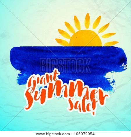 Vector watercolor logo with sun, wave, water color brushstroke and text. Design template and concept of optimism, nature, ecology, family vacation, friendship, local community stock photo