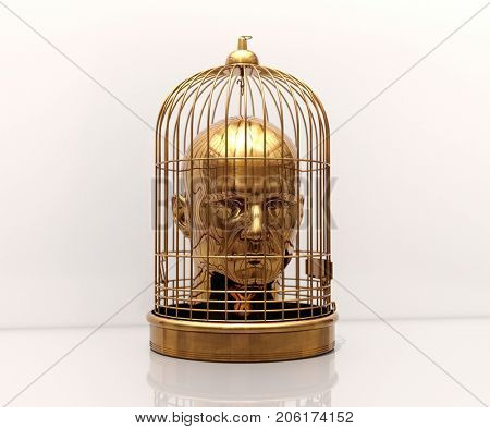Man with a Cage on His Head, Free Himself, Freedom, Man Trapped, Prisoner in Cage, Employee Theft, Man Caged, Wedding Background, Business Discipline, Game Over, Stressed Man, Unlock Potential stock photo