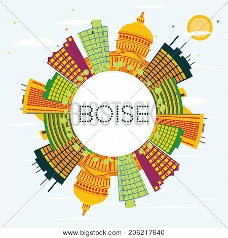 Boise USA Skyline with Color Buildings, Blue Sky and Copy Space. Business Travel and Tourism Concept. Image for Presentation Banner Placard and Web Site. stock photo